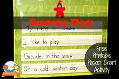 Winter pocket chart activity to go along with the book The Snowy Day in your pre-k or kindergarten classroom. Kindergarten Books, Preschool Literacy, Preschool Books, Preschool Ideas, Winter Activities For Kids, Pre K Activities, Preschool Winter, School Themes, School Fun
