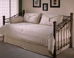 $89.95-$199.95 Baby 4pc Impressions Sage Green Daybed Comforter Cover Bedding Set - Southern Textiles 80JQ400IP An elegant feel with soft scrolled curl designs and diamond shapes in tapestry. King shams have an elegant envelope pillow w/tassels.  This ensemble is a sage/beige color.  Click on small picture to enlarge swatch to see colors better.  This daybed bedding set includes:   http://www.amazon.com/dp/B000A3NGTE/?tag=pin2baby-20