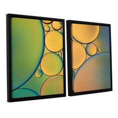 ArtWall 'Cora Niele's Green ' 2-piece Floater Framed Set
