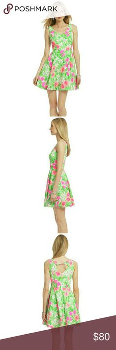 Lilly Pulitzer Everything Nice Freja' Dress Lilly Pulitzer Everything Nice Freja' Print Fit & Flare Dress. Size 0, great pre-owned condition! Spring-fresh garden blossoms enliven a sleeveless cotton dress designed with a swinging A-line skirt. A slack fabric twist that bridges the V-back renders a trend-right cutout.  Hidden back-zip closure Fully lined Cotton; machine wash By Lilly Pulitzer; imported  Approximate measurements laying flat down: | Bust 15"