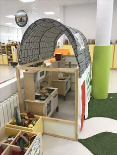 """mashing up IKEA furniture seems to be """"a thing"""" in many schools now. The dialogue with students is helpful, the results are ingenious and the costs are very low. This bunk bed remodelled as an early years play kitchen in Ciudalcampo, Madrid, Spain is a great example!"""