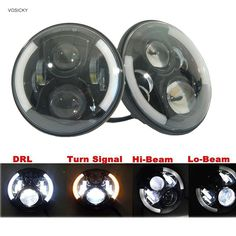 """114.80$  Watch more here  - """"VOSICKY 7"""""""" Inch Round LED Halo Headlight Daymaker H4 H13 Angel Eyes Light DRL  For Jeep Wrangler JK Hummer Harley(2 pieces)"""""""