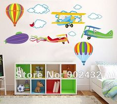 Aliexpress.com : Buy Free shipping Removable Vinyl Wall Sticker Cartoon Airplane and Hot Air Balloons Home Decoration Wall Decals JM6607 from Reliable Wall stickers suppliers on MONNALISA - Children Fashion $5.99