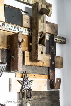 Wood planer workshop hooks  / Reclaimed wood wall and junky storage in the workshop - FunkyJunkInteriors.net