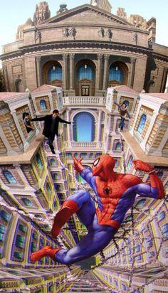 Amazing 3D Street Art Lets Pedestrians Walk on Spider-Man's Webs by Kurt Wenner