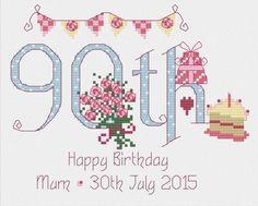 90th Birthday Cross Stitch Kit £16.95 | Past Impressions | Nia