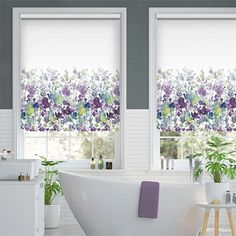 Fabric Blinds, Window Dressings, Roller Blinds, Blinds For Windows, Large Windows, White Fabrics, Flower Patterns, Printing On Fabric, Amethyst