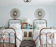 Little girls bedroom decor. Love the bed frames. Girls Bedroom, Sister Bedroom, Blue Bedroom, Trendy Bedroom, Blue Paint Colors, Color Blue, Home Staging Tips, Blue Rooms, Little Girl Rooms