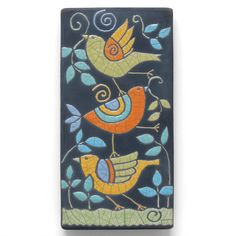 A stack of fun loving birds! Just to make you smile! A Whimsical stack of colorful birds, just having fun! A perfect gift for any bird lover or Azulejos Art Nouveau, Art Nouveau Tiles, Clay Art Projects, Fire Art, Wood Stamp, Fun Loving, Pottery Painting, Colorful Birds, Art Lessons