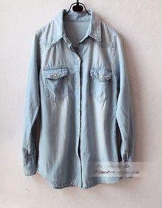 Women Vintage Boyfriend Chambray Faded Washed Denim Shirt