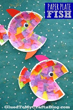 Paper Plate & Tissue Paper Tropical Fish - Kid Craft After reading the. - Paper Plate & Tissue Paper Tropical Fish – Kid Craft After reading the story to my son, - Paper Plate Crafts For Kids, Diy Crafts For Kids, Paper Crafting, Art For Kids, Toddler Paper Crafts, Creative Crafts, Craft Projects For Kids, Kid Art, Children's Arts And Crafts