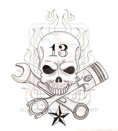 Skull and Wrenches Drawings | Skull with Crossed Wrench and Piston Tattoo by Metacharis