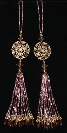 BEADED TASSELS  Filigree Medallions  gold and by GMBDesignsCustom, $29.00