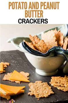 Make these easy gluten-free crackers using a potato and peanut butter! They are crispy and peanut buttery and taste great with some cheese or a touch of jam. #Potato #PeanutButter #Crackers Peanut Butter Crackers, Peanut Butter Snacks, Peanut Butter Cupcakes, Gluten Free Peanut Butter, Best Dessert Recipes, Fun Desserts, Delicious Desserts, Snack Recipes, Baking Recipes
