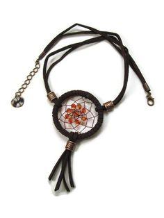 Dream-catcher choker necklace with orange by polymerclaybijoux