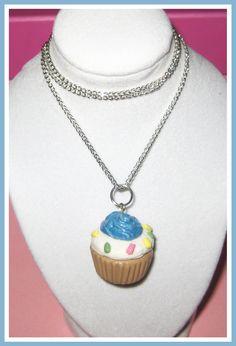 Kawaii Blue Polymer Clay Cupcake Necklace