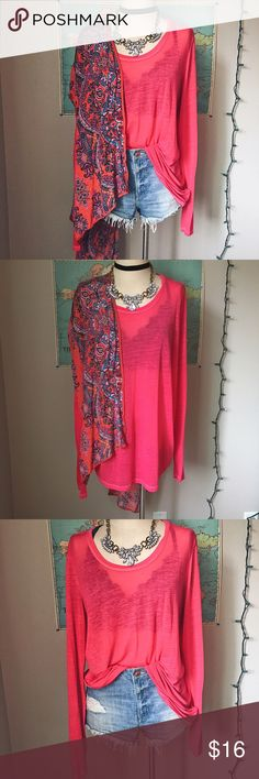Long Sleeve Top This top is a bright neon pink that is perfect for spring and summer. It is a lightweight thin fabric that is great for warmer weather. The long sleeves make it necessary for both layering and wearing alone. It is in great condition no flaws. It is a size 2X from Maurice with a slightly larger fit. Maurices Tops Tees - Long Sleeve