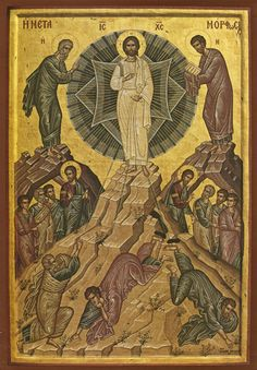 This modern icon of the Transfiguration is by the Monk Michael of the Holy Mountain of Mt. The Transfiguration is a very important Religious Icons, Religious Art, Mystery Of Light, Transfiguration Of Jesus, The Holy Mountain, St John Paul Ii, Queen Of Heaven, Byzantine Art, Light Of The World