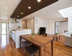 wood on wood Kitchen Interior, Kitchen Design, Plaster Ceiling Design, Interior Architecture, Interior Design, Dining Room, Dining Table, Home Renovation, Decoration