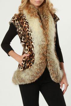 Gorski Animal Print Lamb Vest with Golden Red Fox Fur Trim - Beyond the Rack Fur Coat Outfit, Fox Fur Coat, Zebra Print, Leopard Prints, Animal Prints, Cheetah, Leopard Fashion, Men Looks, Fur Trim