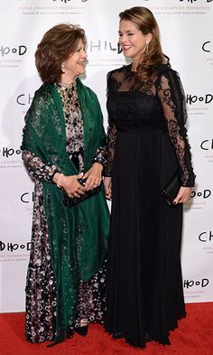 It was an elegant mother and daughter night out in New York City for Queen Silvia of Sweden and her daughter Princess Madeleine on October 2. The two royals – the Queen in dark florals and the Princess in a Self Portrait black lace gown – were hosting the World Childhood Foundation USA 2017 Thank You Gala at Cipriani Broadway.