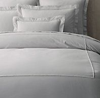 Italian Bold Satin Stitch Cotton Duvet Cover - RH's Italian Bold Satin Stitch Cotton Duvet Cover:A contemporary take on classic Italian embroidered linens, our bedding features a thick band of tone-on-tone satin stitching for a clean finish. The washed cotton percale has a relaxed feel and sumptuous hand.
