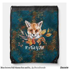 Blue brown Fall theme fox and foliage custom Drawstring Bag Custom Drawstring Bags, Autumn Theme, Blue Brown, Fox, Backpacks, Backpack, Foxes, Backpacker, Backpacking