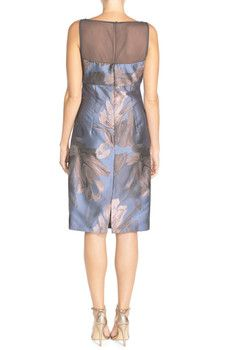 Maggy London 'Splash' Floral Jacquard Sheath Dress (Petite)