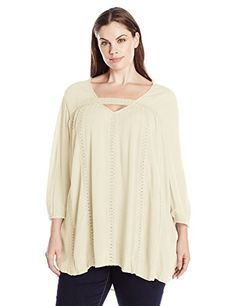 b3264c1940503 Eyeshadow Womens Plus Size Lace Bell Sleeve V Neck Tunic Top White Swan 2X  --