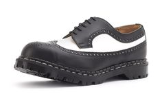 Steel Ground Black White Leather Brogue Shoes Safety Under Cap 4 Eyelets Shoe