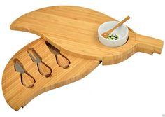 Leaf Shape Swivel Cheese Board Tools Ceramic Dipping Bowl Set #PicnicatAscot