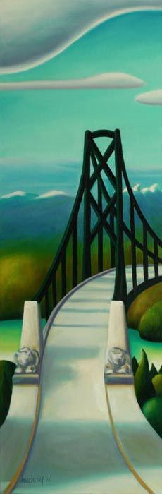 Above the Lions Gate [Lions Gate bridge, Vancouver, BC] by BC artist Dana Irving Picasso And Braque, Lions Gate, Art Deco Movement, Art And Craft Design, Naive Art, Canadian Artists, Landscape Illustration, Easy Paintings, Whimsical Art
