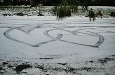 Tire Track Hearts on a driveway in Cornwall :)