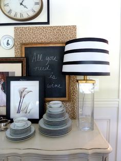Add ribbon to a lamp shade - quick!    Maybe do to a canvas in the bedroom.
