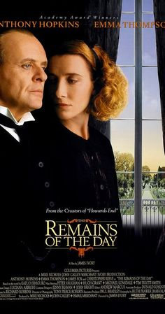 Directed by James Ivory.  With Anthony Hopkins, Emma Thompson, John Haycraft, Christopher Reeve. A butler who sacrificed body and soul to service in the years leading up to World War II realizes too late how misguided his loyalty was to his lordly employer.