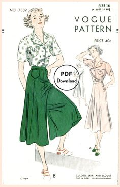 1930s Vogue 7339 vintage sewing pattern wide leg trousers or culotte skirt & blouse bust 34  Instant Download