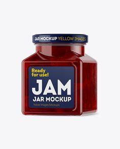 Glass Cherry Jam Jar Mockup - Halfside View (Preview)