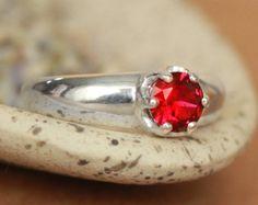 Anillo de rubí filigrana en esterlina anillo por MoonkistCreations