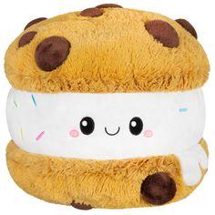 Food Pillows, Cute Pillows, Ice Cream Cookie Sandwich, Ice Cream Cookies, Cute Stuffed Animals, Cute Animals, Bear Toy, Teddy Bear, Food Plushies