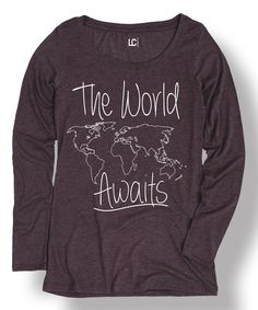 Look what I found on #zulily! Heather Purple 'The World Awaits' Tee #zulilyfinds