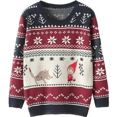 Snowflake Preppy Style Deer Sweater