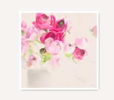 Flower Photography, ranunculus, pink flower print, shabby chic, cottage home decor, still life, flowers, floral, bright pink, pastel