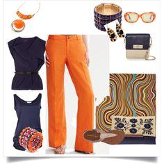 Orange linen pants, navy, work and play