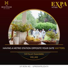 THE HEMISPHERE PRESENTS EXPA VILLAS  Welcome to a #lifestyle that you would rejoice for the #lifetime. The Hemisphere is sharing lifetime opportunity to #own 143 sq.yd. exclusive #expendable #villas in #GreaterNoida . Expa Villas are located in heart of Greater Noida, just opposite to #metro #station .
