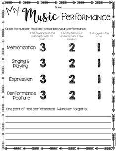 Music Performance Self Evaluation Worksheets, Choir   Chöre ...