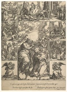 The Coronation of the Virgin; surrounded by nine vignettes with scenes from the life of Christ and the Virgin Artist: Engraved by Giorgio Ghisi (Italian, Mantua ca. 1520–1582 Mantua) Date: by 1575 Medium: Engraving