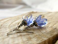 Little Blue Petals Earrings, Resin Earrings With Real Cornflower Petals, Resin Earrings With Real Flower Resin Jewelry Making, Wire Jewelry, Handmade Jewelry, Resin Jewellery, Resin Crafts, Resin Art, Pressed Flower Art, Designer Earrings, Jewelry Design