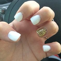White and gold nails