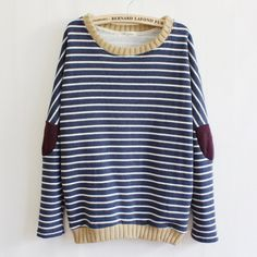 Stripes Patched Casual Sweatershirt $29.90 10% off discount code sweetbox for new arrivals