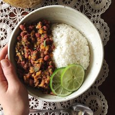 I had this bowl of red beans and rice for lunch. Beans: I sautéed a bit of onion, yellow pepper, jalepeño, and garlic in a tiny bit of coconut oil along with some cumin, smoked paprika, chili powder,...